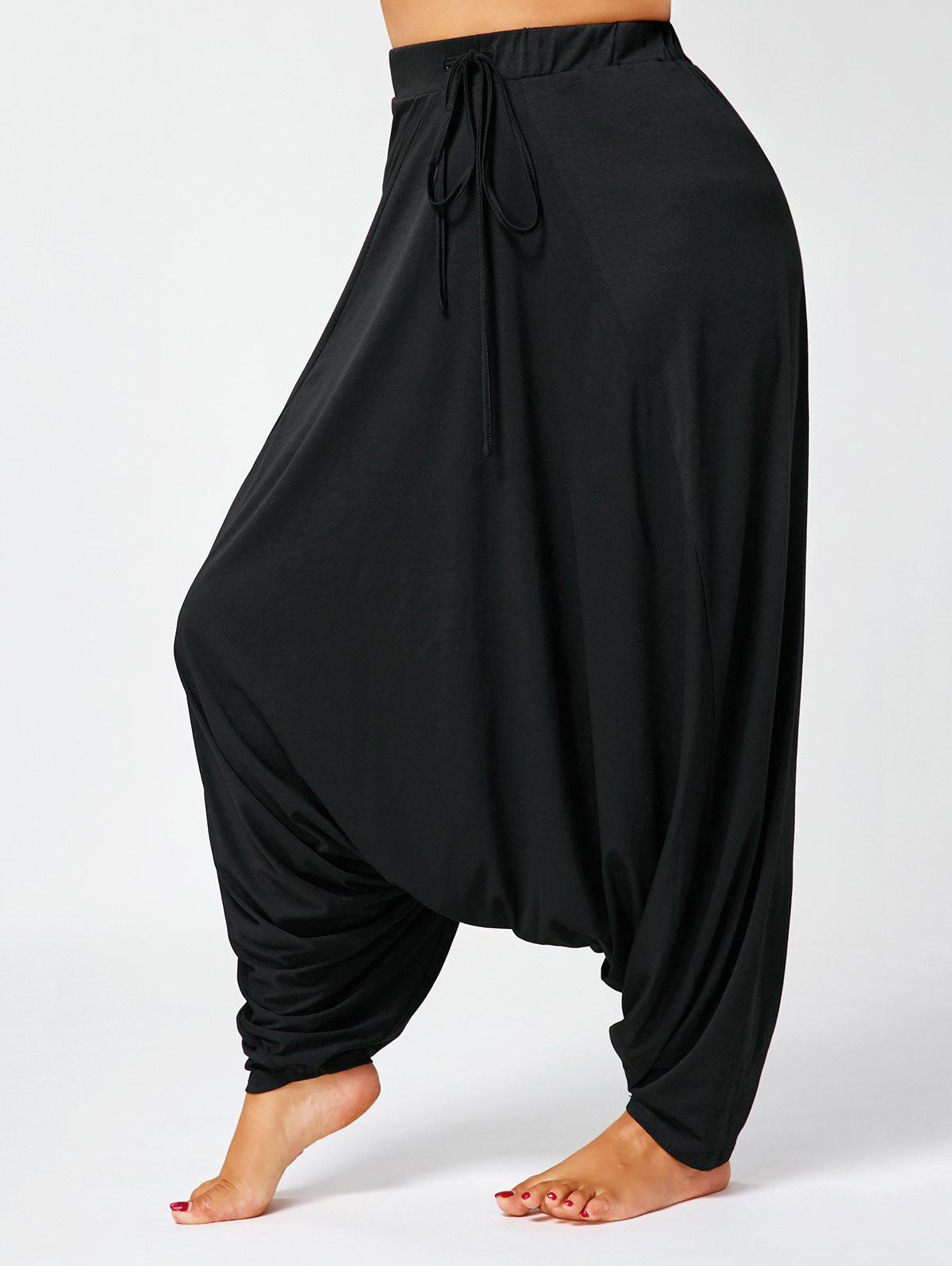Drawstring Drop Bottom Plus Size Harem Pants - BLACK 2XL