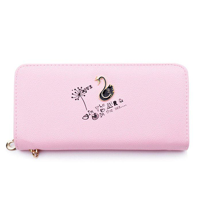 Letter Print Faux Leather Clutch Wallet - LIGHT PINK