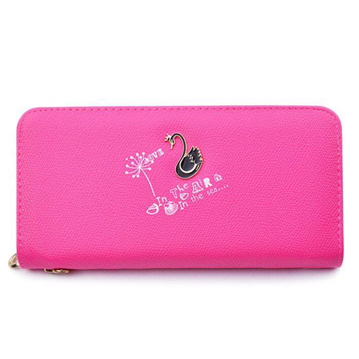 Letter Print Faux Leather Clutch Wallet - ROSE RED