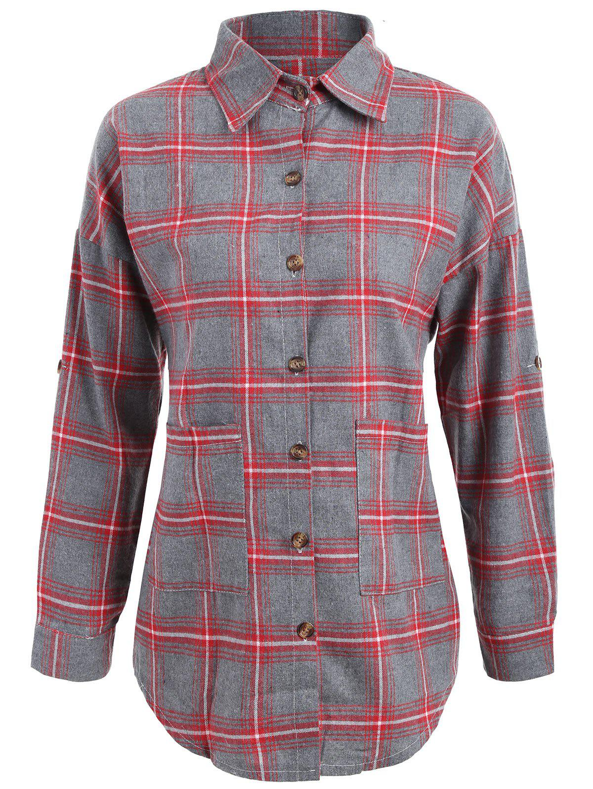 Plaid Button Up Plus Size Shirt Jacket - Rouge 4XL