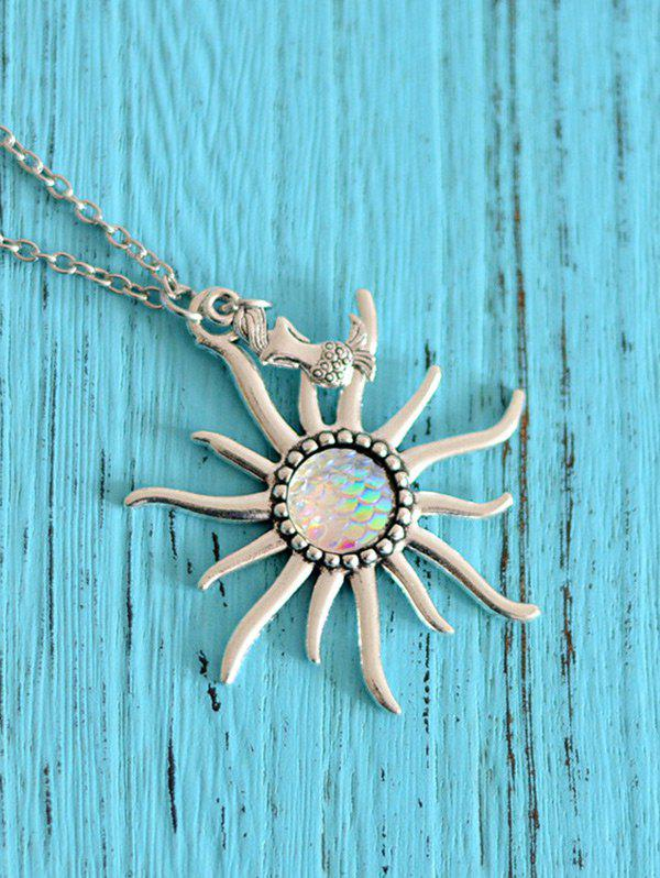 Mermaid Scale Sun Pendant Necklace - Blanc