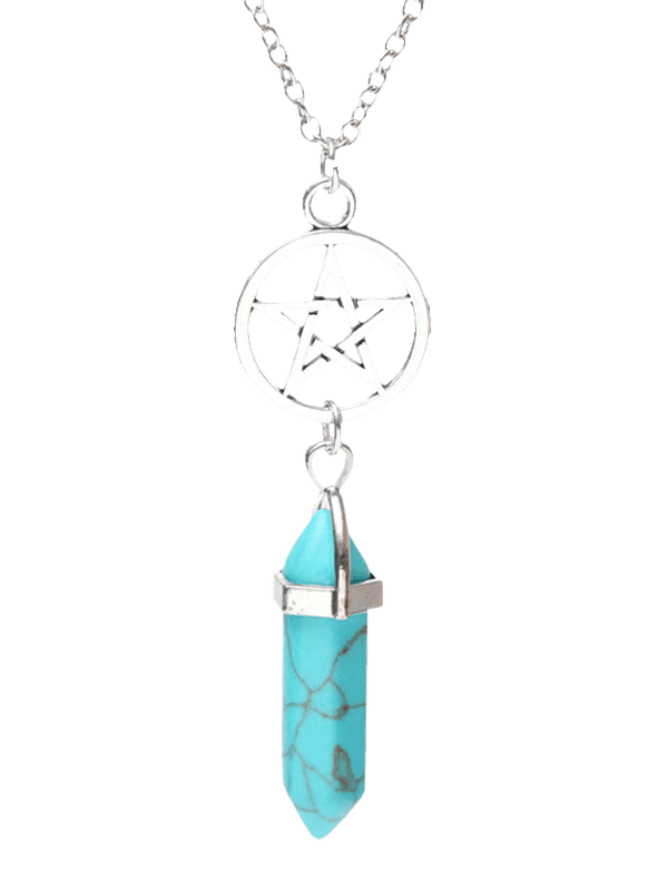 Natural Stone Circle Star Pendant Necklace - TURQUOISE BLUE