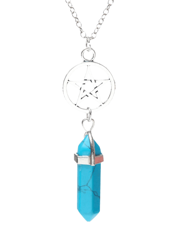 Natural Stone Circle Star Pendant Necklace - BLUE