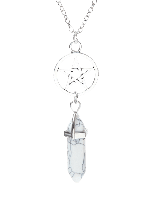 Natural Stone Circle Star Pendant Necklace - WHITE