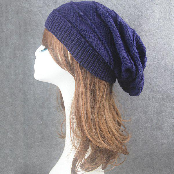 Wave Striped Knitting Beanie Hat - CADETBLUE