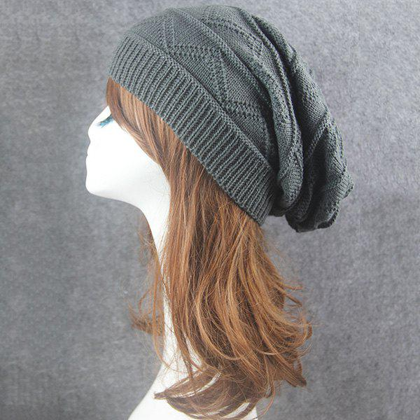 Wave Striped Knitting Beanie Hat - DEEP GRAY