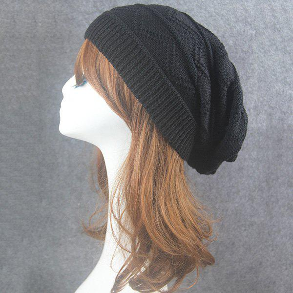 Wave Striped Knitting Beanie Hat tiny rivet embellished knitting beanie