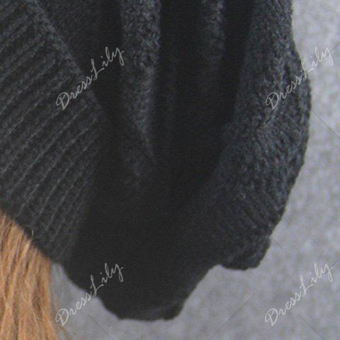 Wave Striped Knitting Beanie Hat - BLACK