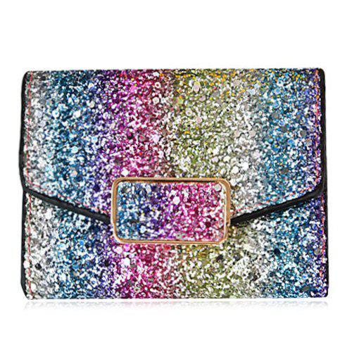 Multicolor Sequins Metal Small Wallet - BLUE