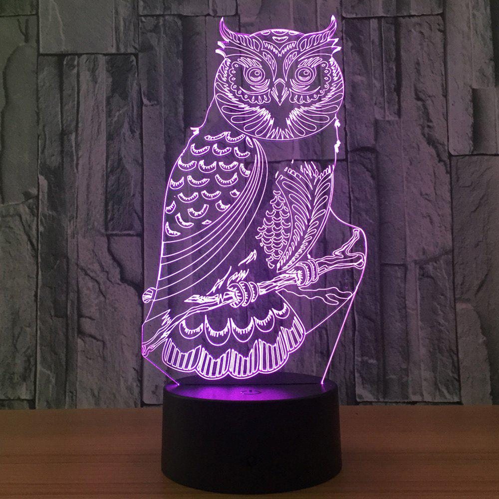 owl shape 7 colors change 3d touch night light transparent