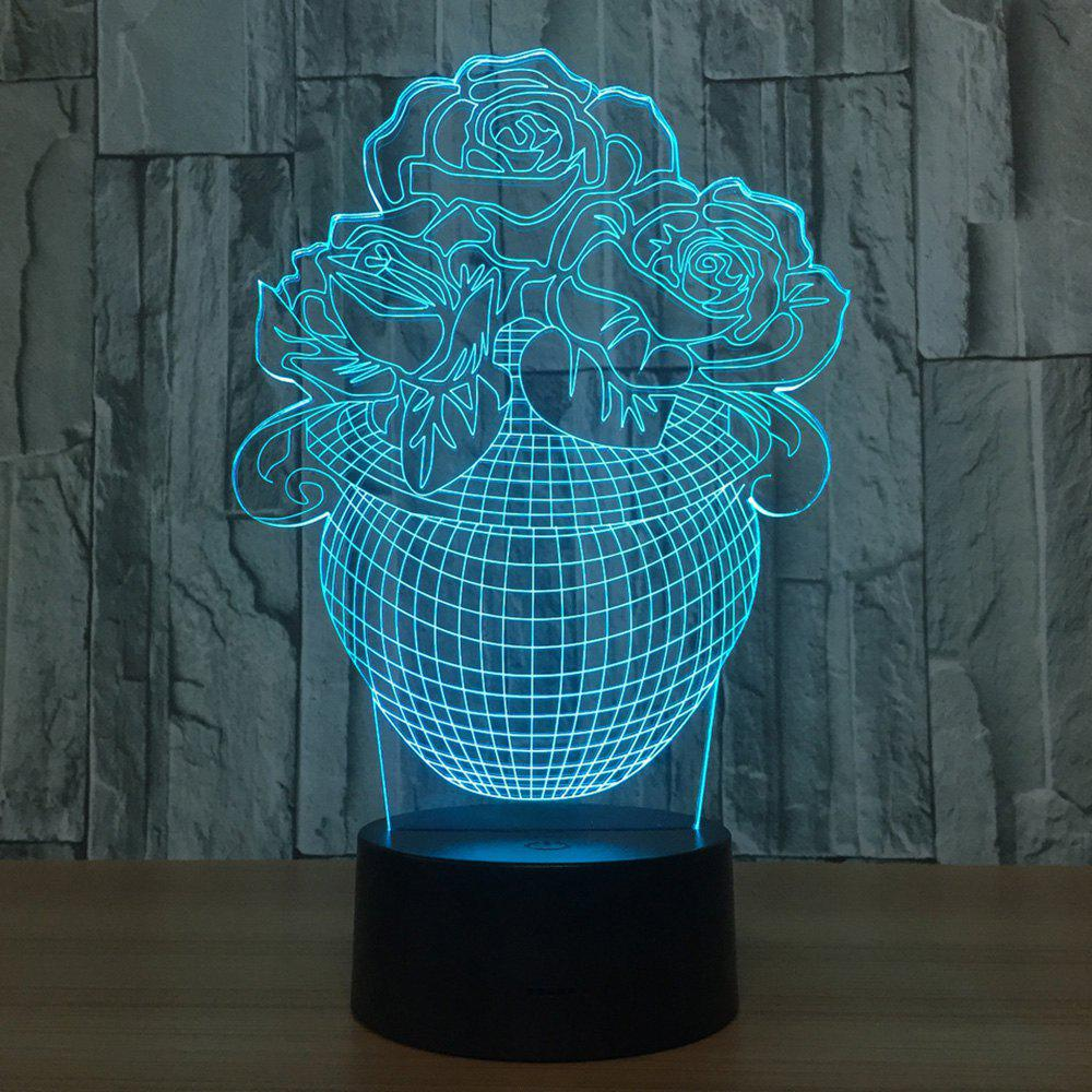 7 Colors Change 3D Visual Rose Vase Shape Night Light - TRANSPARENT