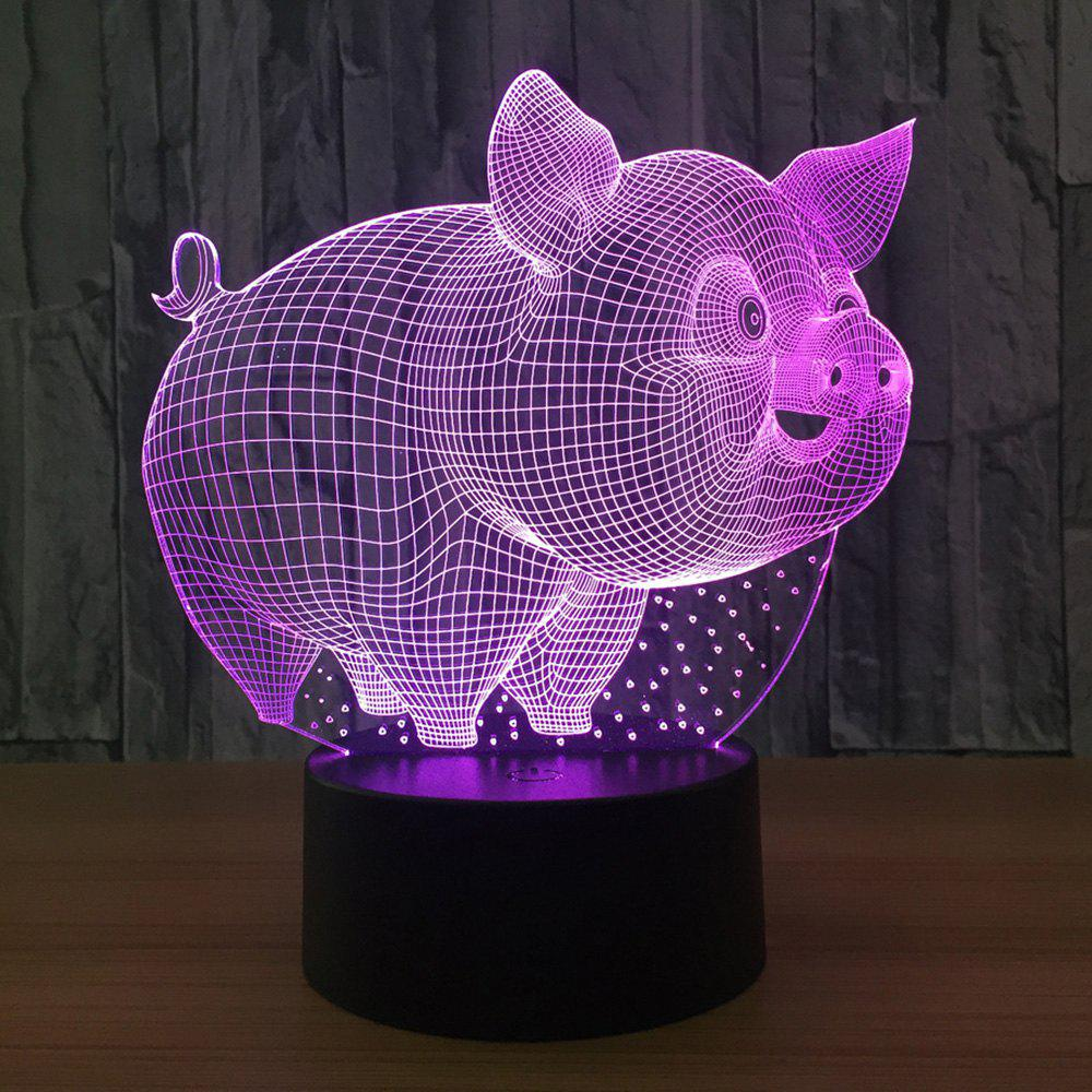 Cartoon 3D Pig Shape 7 Colors Change Touch Night Light - TRANSPARENT