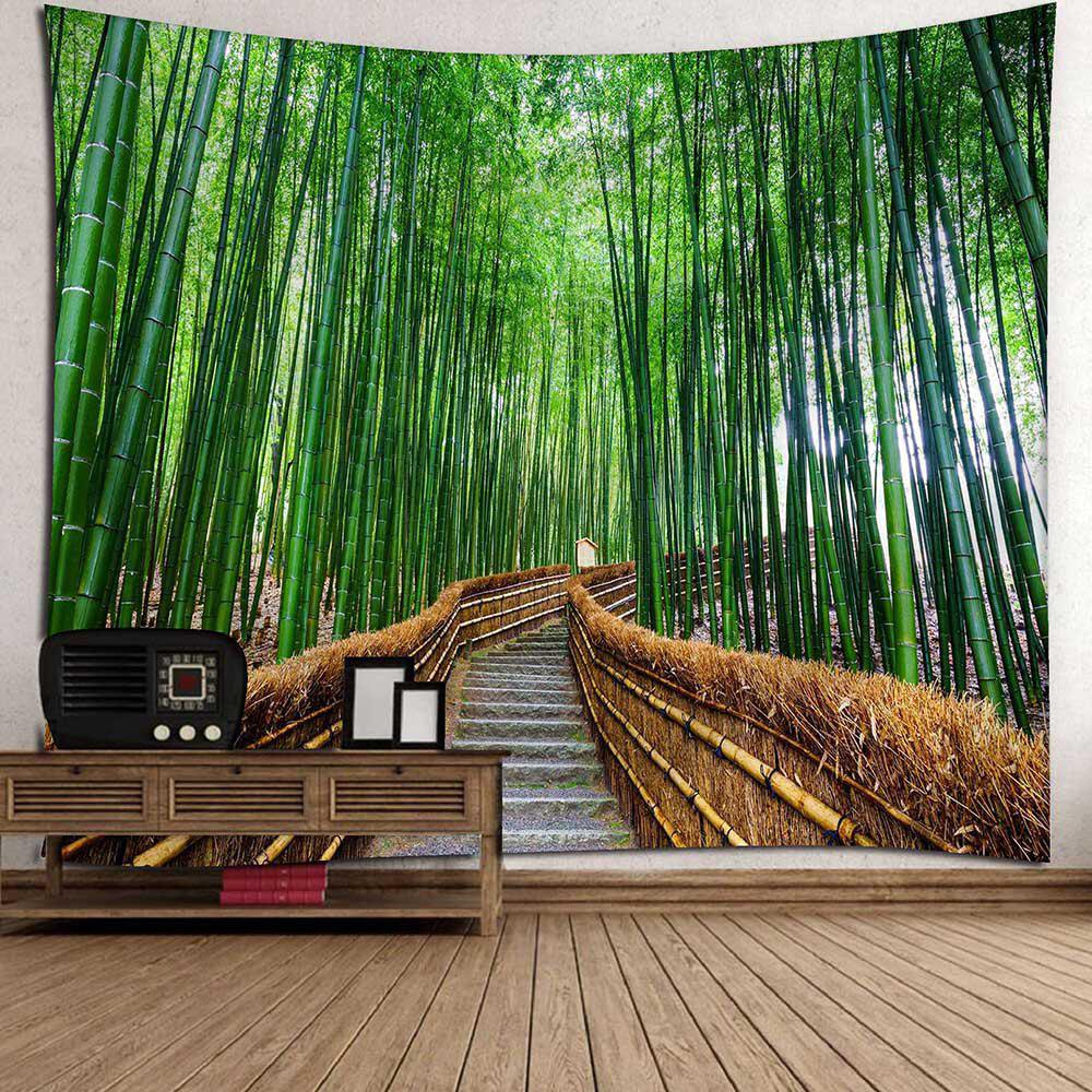 Wall Decor Bamboo Grove Pathway Waterproof Tapestry - GREEN W79 INCH * L59 INCH