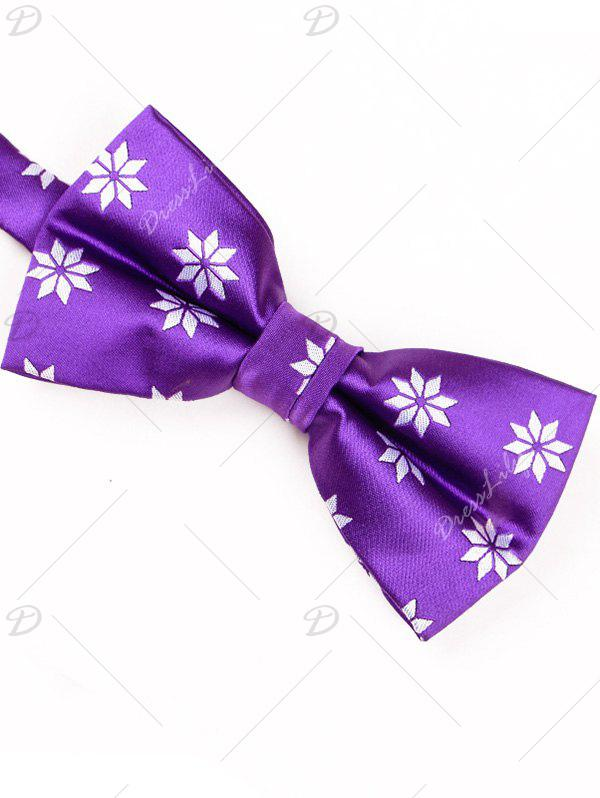 Polyester Geometric Floral Pattern Bow Tie - PURPLE