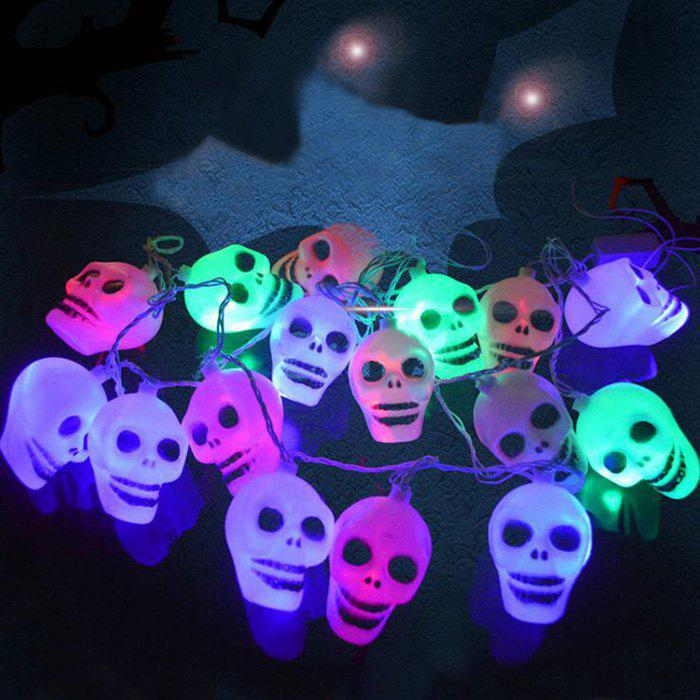 16 Pcs LED Skull Halloween Party String Lights - COLORFUL