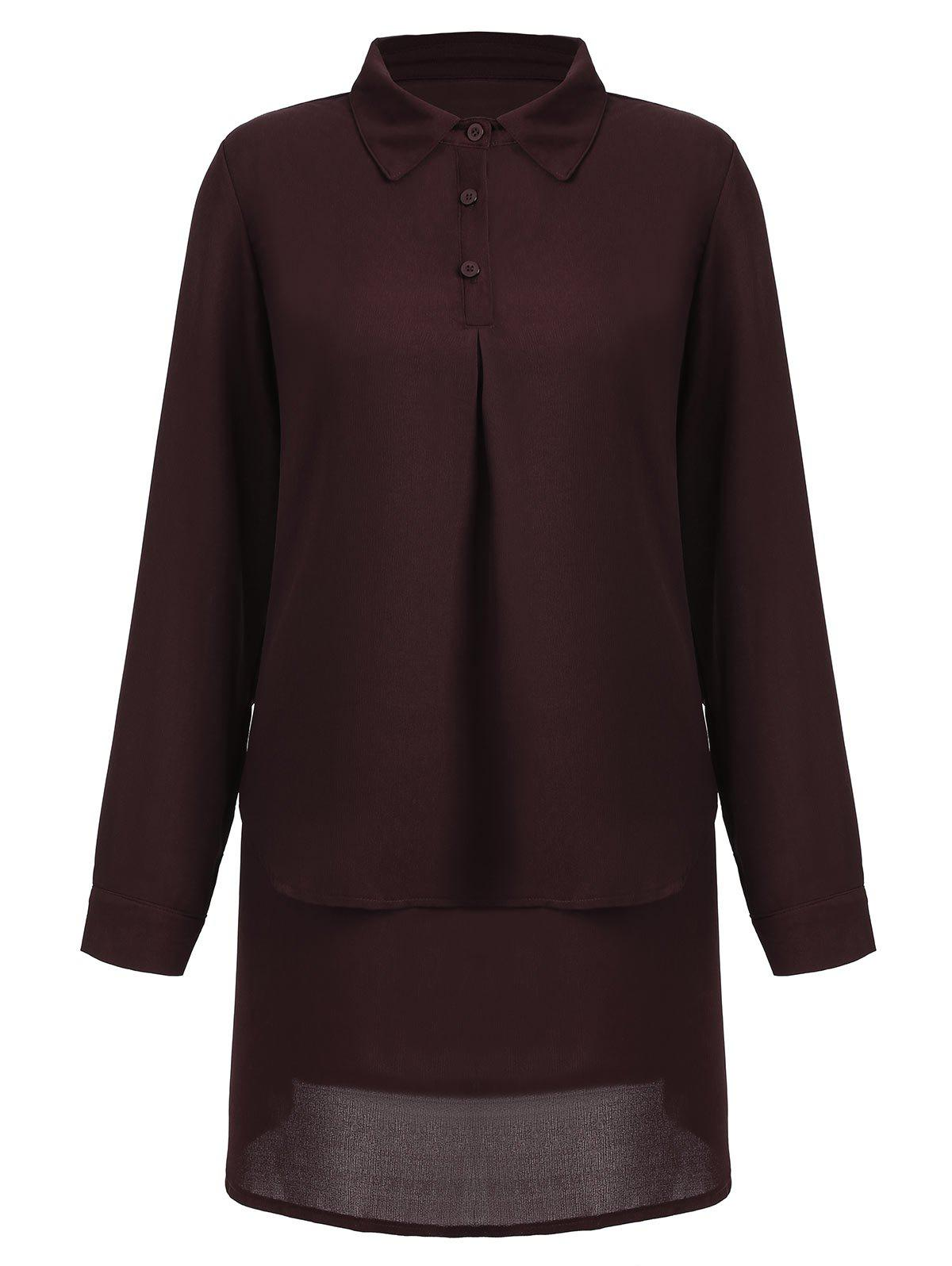Long Sleeve Plus Size Long Blouse - WINE RED 3XL