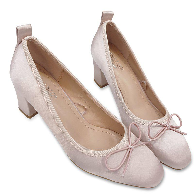Block Heel Bow Satin Pumps - LIGHT PINK 37