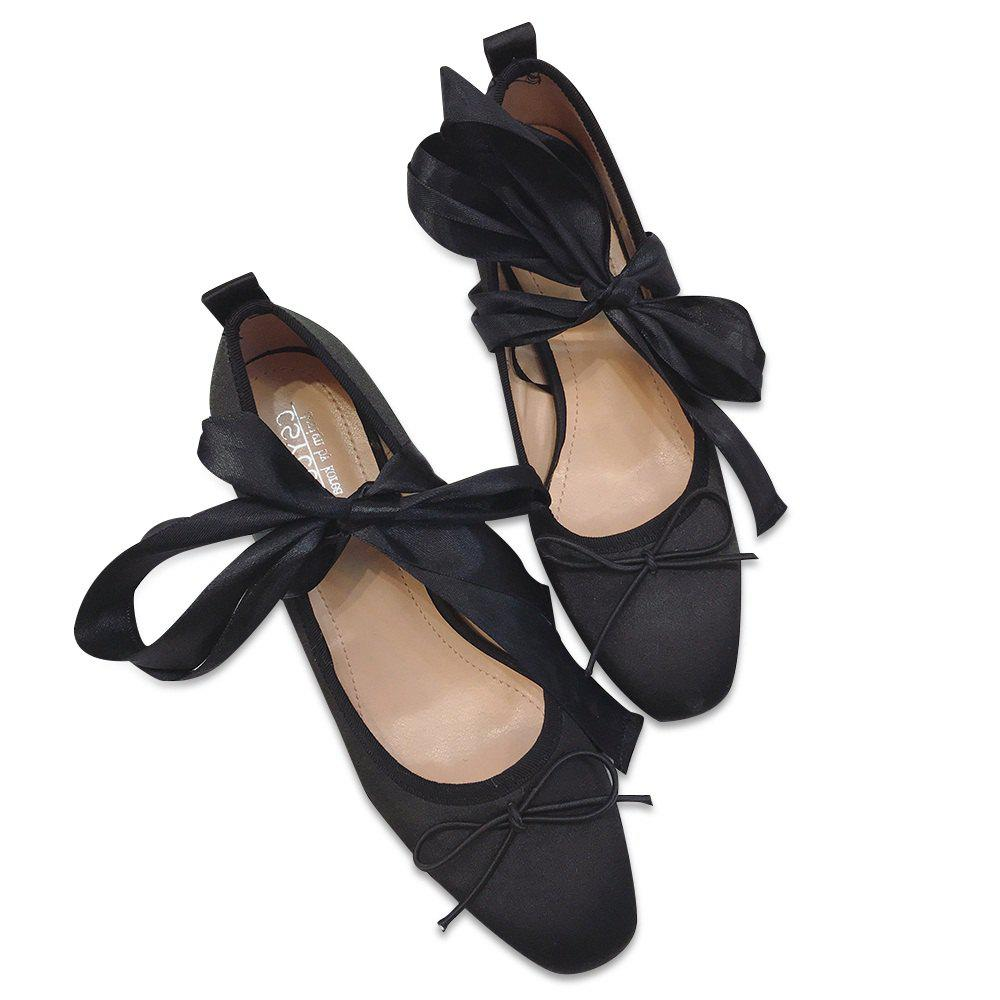 Block Heel Bow Satin Pumps - Noir 37