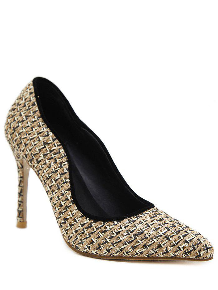 Gien Check Stiletto Heel Sequins Pumps - Abricot 38