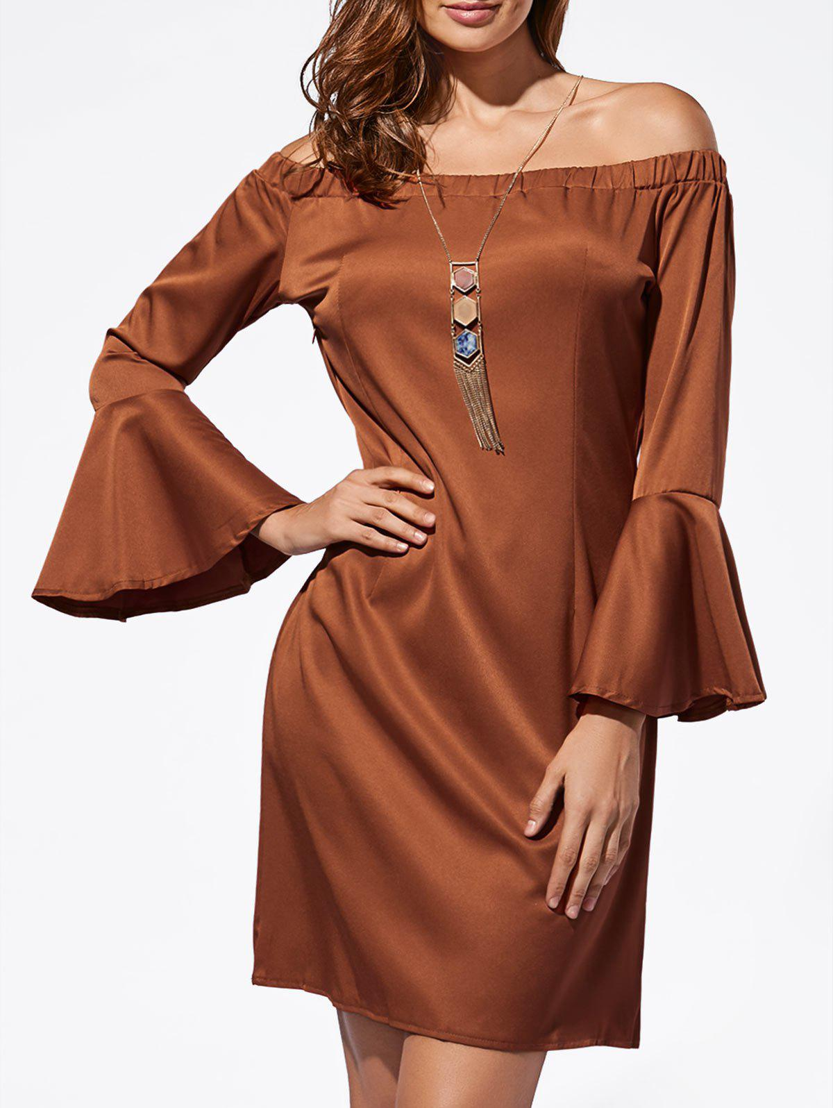 Mini Off The Shoulder Bell Sleeve Dress - DARK AUBURN S