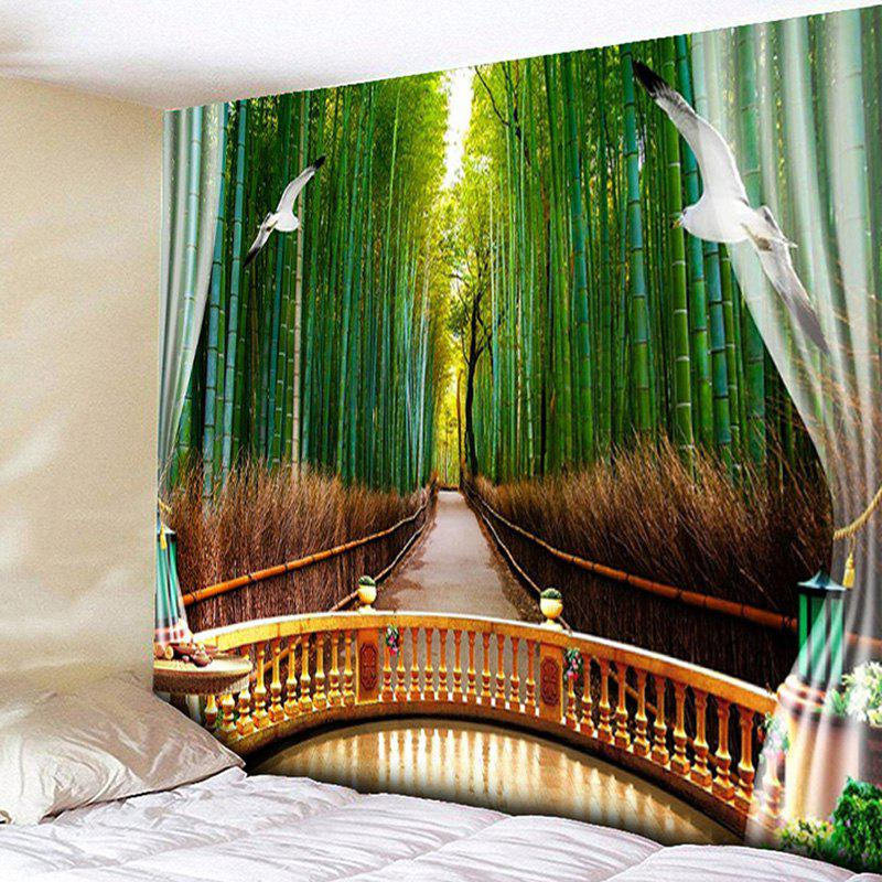 2018 Bedroom Decor Bamboo Forest Print Wall Tapestry GREEN W INCH ...