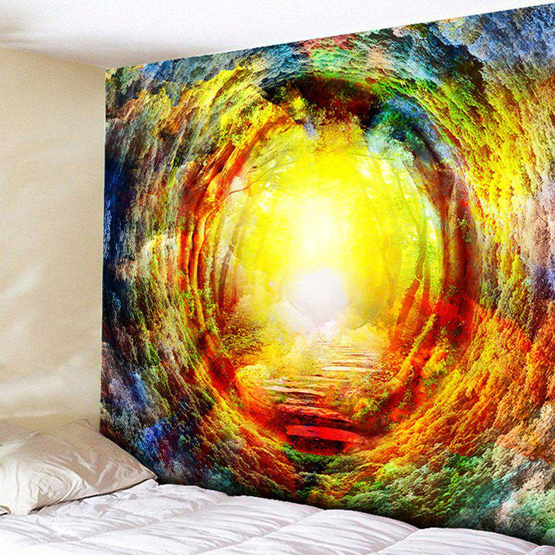 Forest Tree Hole Tapestry Wall Hanging - YELLOW W59 INCH * L59 INCH