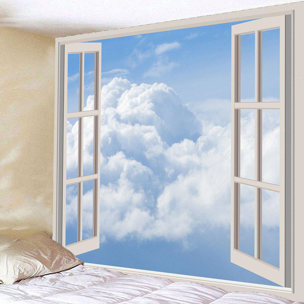 Wall Hanging Faux Window Cloud Waterproof Tapestry - WHITE W71 INCH * L71 INCH