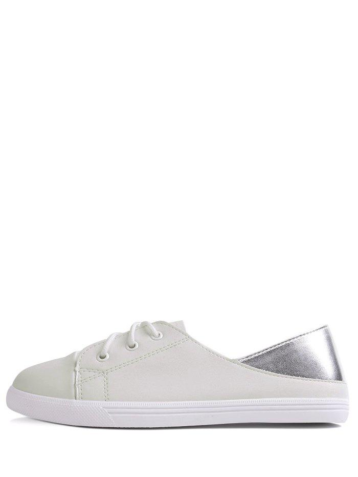 Faux Leather Two Tone Flat Shoes - WHITE 39