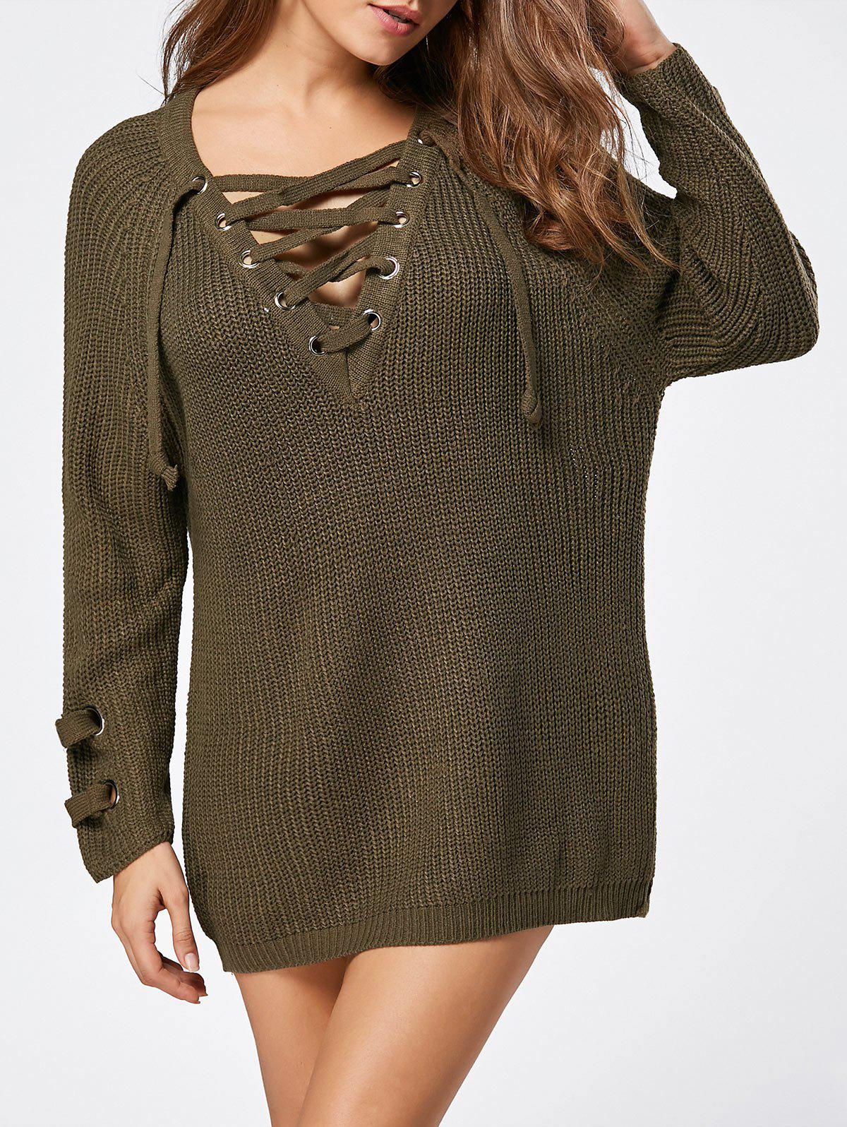 Lace Up Raglan Sleeve Ribbed Trim Sweater - LAWN ONE SIZE