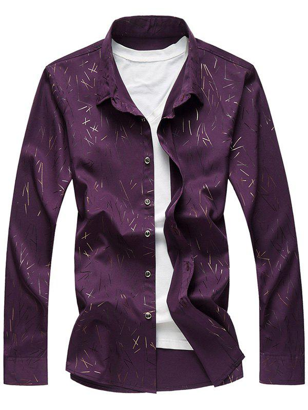 Long Sleeve All Over Print Smooth Shirt - PURPLE 2XL