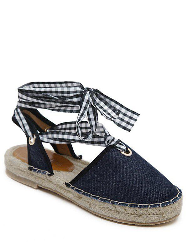 Stitching Tie Up Slingback Sandals - DEEP BLUE 40