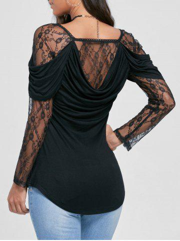 Lace Yoke Cowl Back Sheer Top