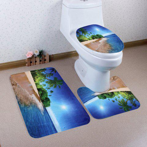 Beach Palm Tree Pattern 3 Pcs Bathroom Toilet Mat - BLUE