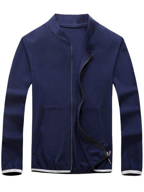Elastic Cuff Zipper Up Lightweight Jacket - DEEP BLUE L