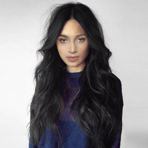 Long Middle Part Fluffy Layered Wavy Synthetic Wig - BLACK 60CM