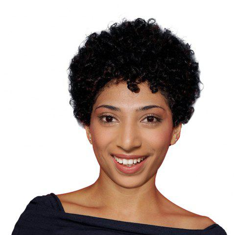 Ultra Short Oblique Bang Afro Curly Pixie Human Hair Wig - BLACK 18CM