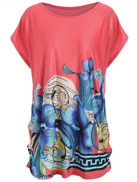 Plus Size Printed Causal Long T-shirt - BABY PINK ONE SIZE