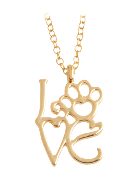 Love Heart Paw Footprint Pet Necklace - GOLDEN