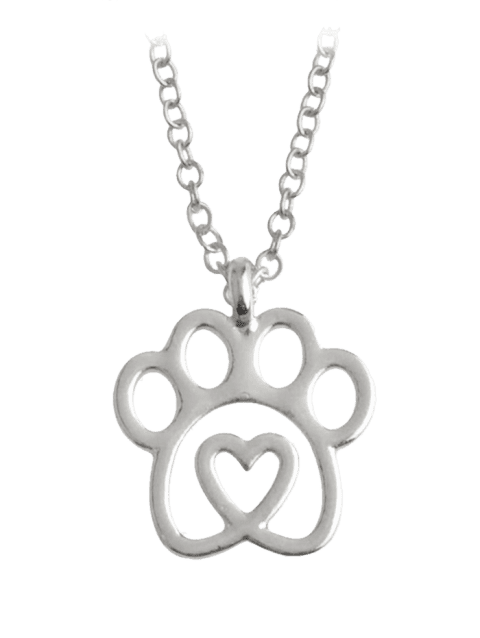 Heart Claw Footprint Pet Pendant Necklace - SILVER