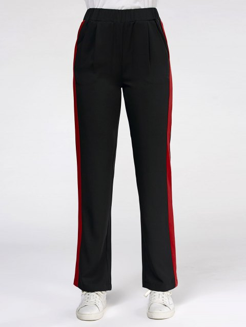 Elastic High Waisted Color Trim Casual Pants - BLACK 2XL