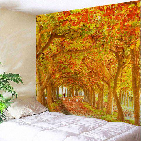 Maple Forest Path Print Tapestry Wall Hanging Art - CITRUS W71 INCH * L91 INCH