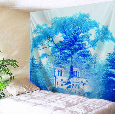 Dreamlike Forest Castle Wall Hanging Tapestry - AZURE W71 INCH * L79 INCH