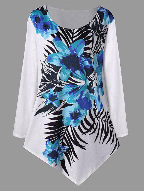Plus Size Floral Long Sleeve Asymmetric Top - OASIS 5XL