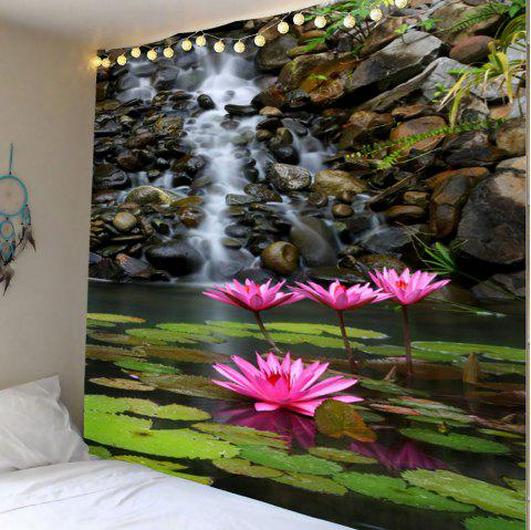 Lotus Pond Print Wall Art Tapestry - COLORMIX W71 INCH * L71 INCH