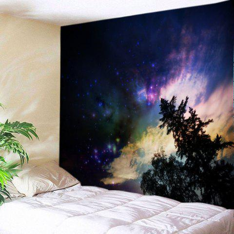 Galaxy Trees Print Tapestry Wall Hanging Art Decor - BLACK W59 INCH * L59 INCH