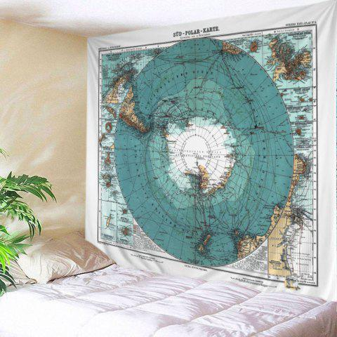 Retro Antarctic Map Print Tapestry Wall Hanging Art - AZURE BLUE W59 INCH * L51 INCH