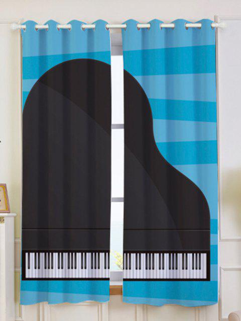 2Pcs Piano Printed Lightproof Window Curtains - BLUE/BLACK W53 INCH * L63 INCH