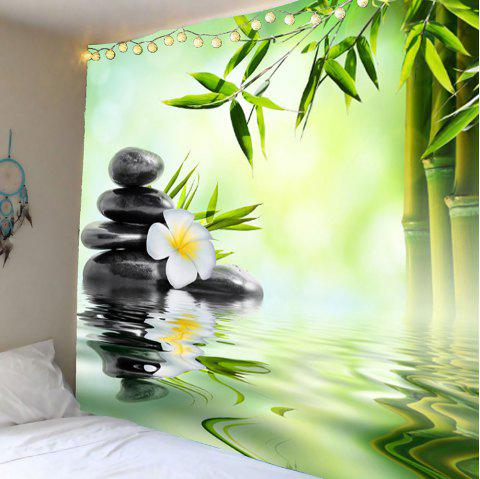 Home Decor Bamboo Pond Wall Hanging Tapestry - GREEN W79 INCH * L71 INCH