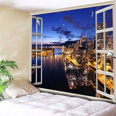 Wall Art Decor Window Night View Print Tapestry - BLUE W79 INCH * L59 INCH