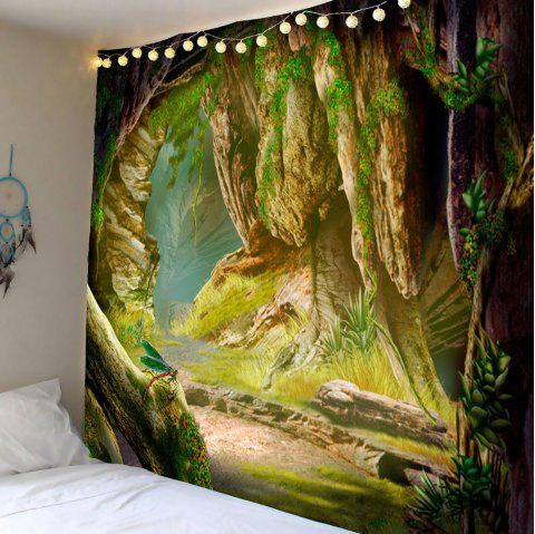 Cave Vines Patterned Wall Art Hanging Tapestry - GREEN W79 INCH * L71 INCH